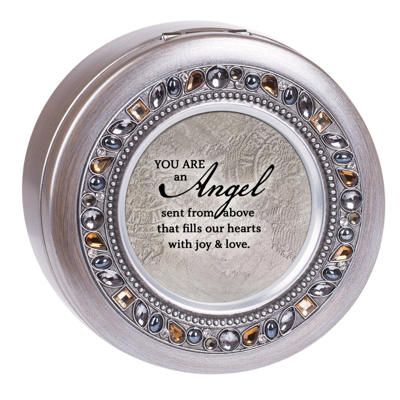 Angel Inspirational Grey Brushed Pewter Jeweled Round Music Box Plays Amazing Grace