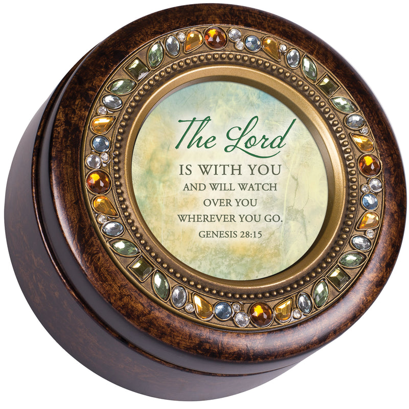 Watching Over You Inspirational Amber Earth Tone Jeweled Round Music Box Plays How Great Thou Art