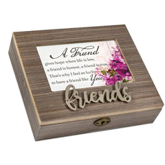 A Friend Like You Metal Appliqué Friend Music Box Plays That's What Friends Are For