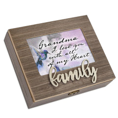 Grandma I Love You Metal Appliqué Family Music Box Plays Wind Beneath My Wings