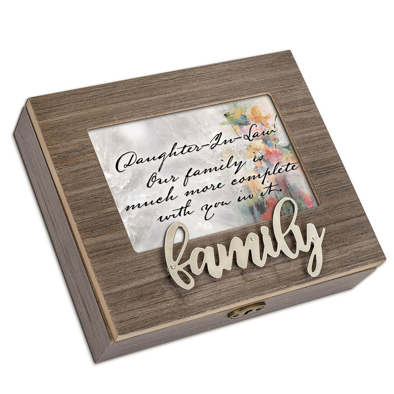 Daughter-in-Law You Complete Our Family Metal Appliqué Family Music Box Plays Wonderful World