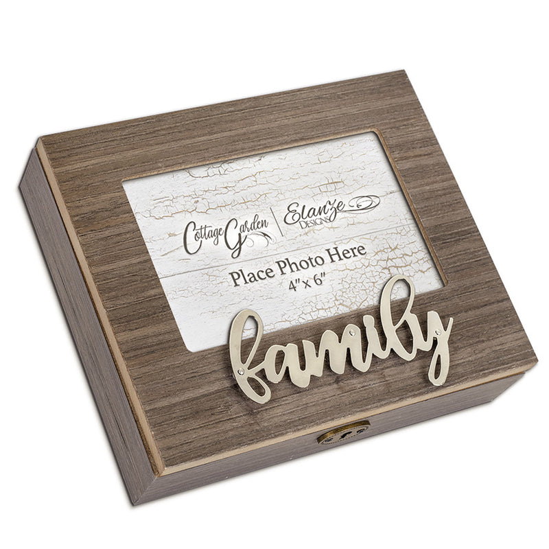 Metal Appliqué Family Music Box Plays You Are My Sunshine