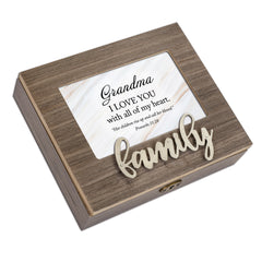 Grandma I Love You Distressed Brown 6 x 4 Bevel Petite Music Box Plays Tune Amazing Grace