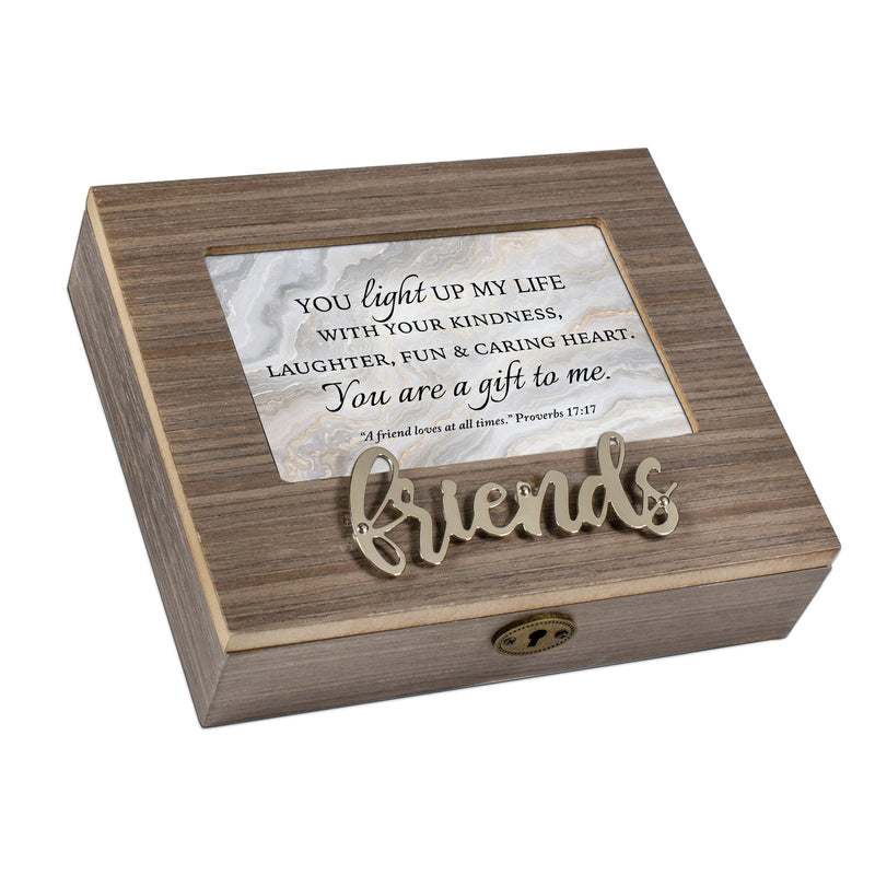 You Light Up My Life Distressed Brown 6 x 4 Bevel Petite Music Box Plays Tune Amazing Grace