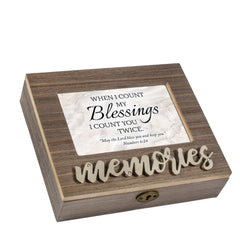 Count My Blessings  Distressed Brown 6 x 4 Bevel Petite Music Box Plays Tune How Great Thou Art