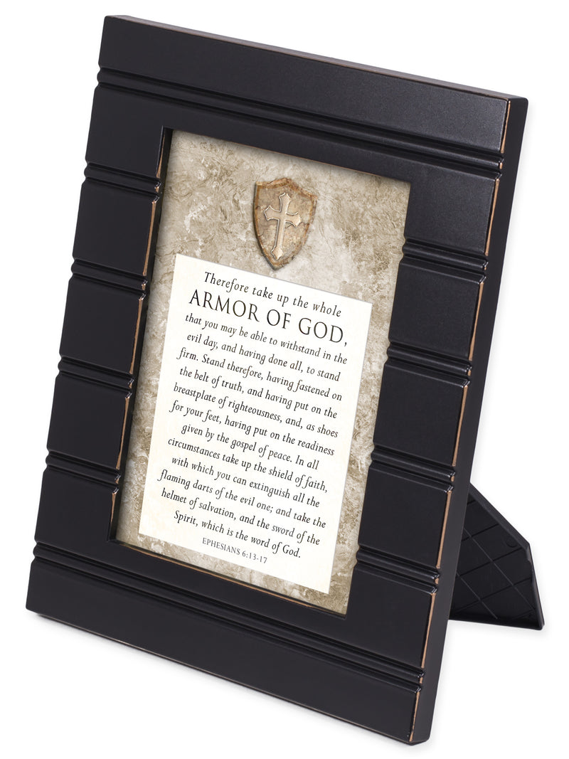 The Full Armor of God Ephesians 6:10-18 Black with Gold Trim 8 x 10 Framed Wall Art Plaque