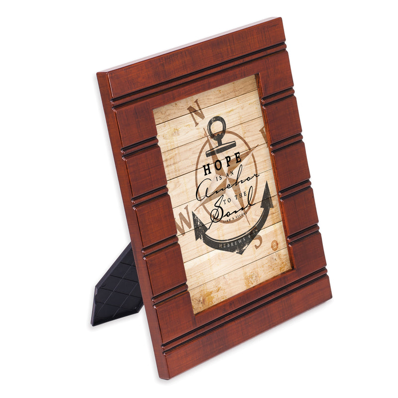 Hope is an Anchor to the Soul Woodgrain Beaded Board 5 x 7 Table Top and Wall Photo Frame