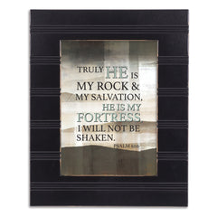 He is My Fortress Black Beaded Board 5 x 7 Table Top and Wall Photo Frame