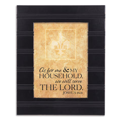 We Will Serve the Lord Black Beaded Board 5 x 7 Table Top and Wall Photo Frame