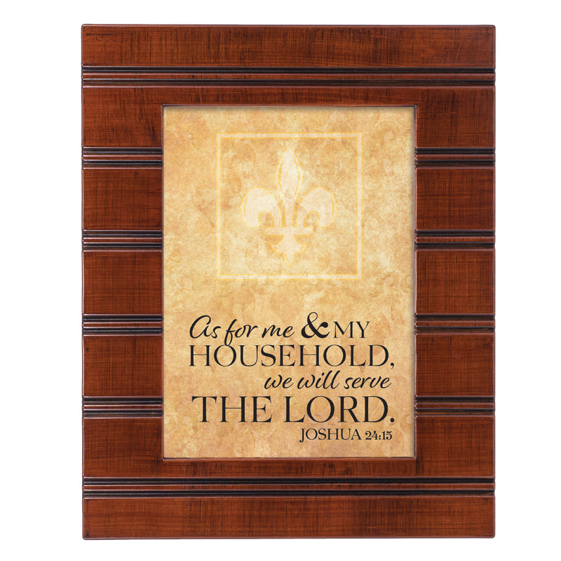 We Will Serve the Lord Woodgrain Beaded Board 5 x 7 Table Top and Wall Photo Frame