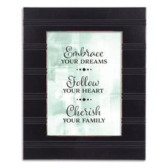 Embrace Follow Cherish Black Beaded Board 5 x 7 Table Top and Wall Photo Frame