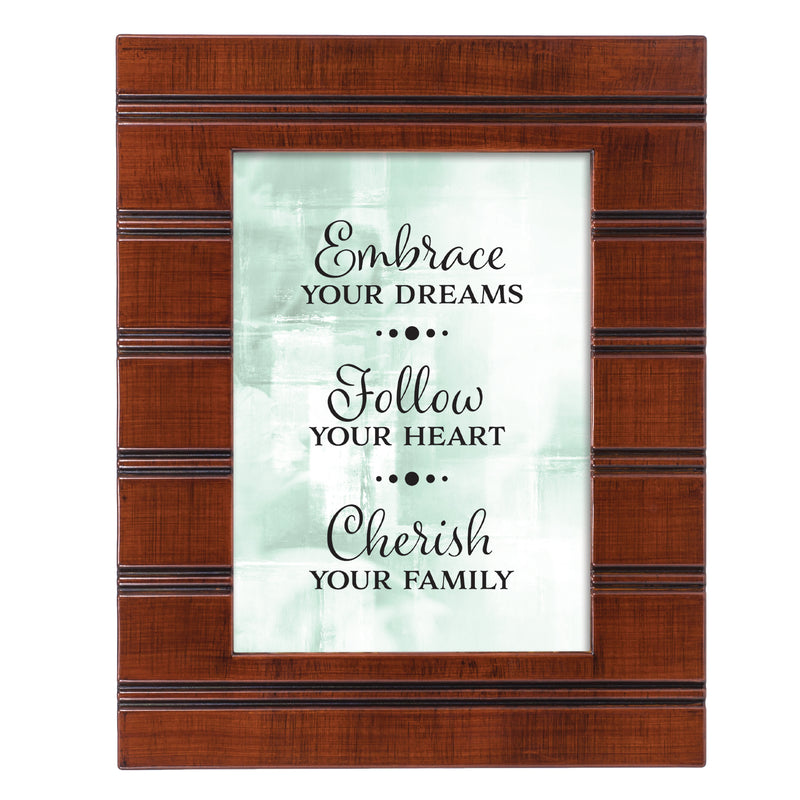 Embrace Follow Cherish Woodgrain Beaded Board 5 x 7 Table Top and Wall Photo Frame