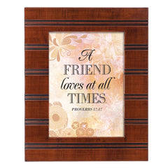 A Friend Loves Woodgrain Beaded Board 5 x 7 Table Top and Wall Photo Frame