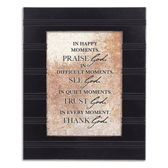 Praise See Trust Thank Black Beaded Board 5 x 7 Table Top and Wall Photo Frame