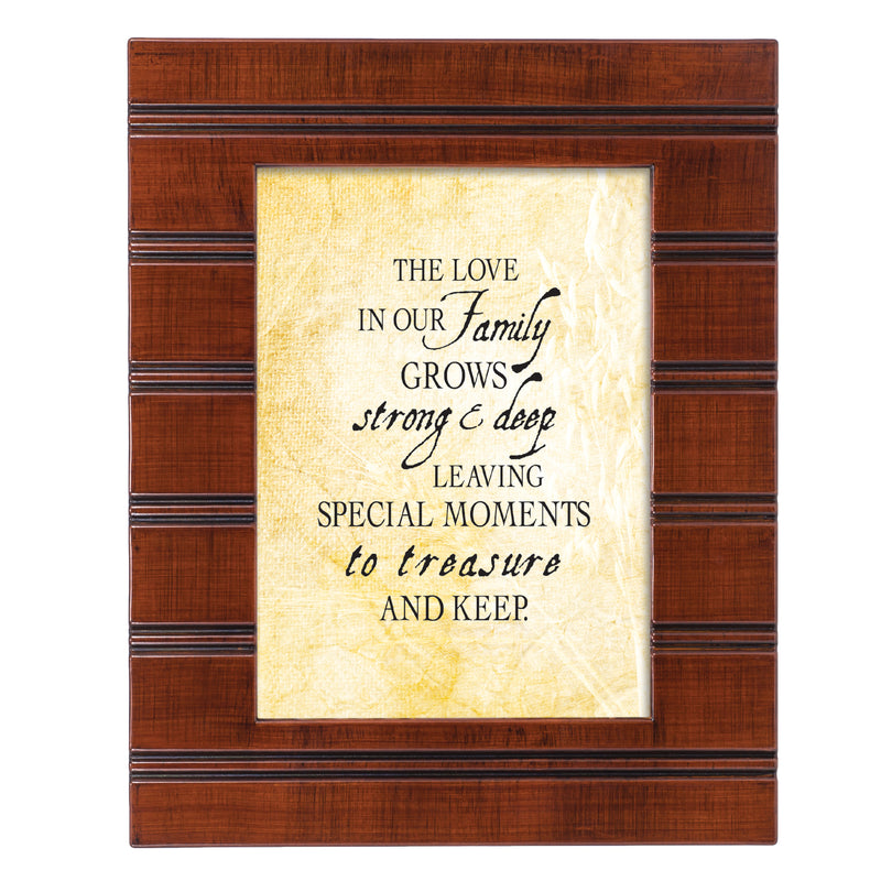 Love in our Family Woodgrain Beaded Board 5 x 7 Table Top and Wall Photo Frame