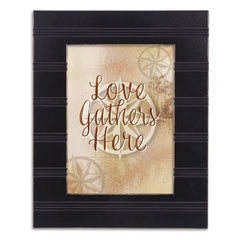Love Gathers Here Black Beaded Board 5 x 7 Table Top and Wall Photo Frame