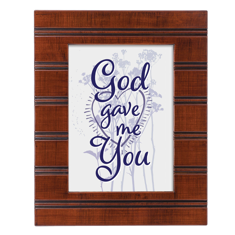 God Gave Me You Woodgrain Beaded Board 5 x 7 Table Top and Wall Photo Frame