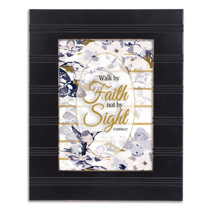 Walk By Faith Black Beaded Board 5 x 7 Table Top and Wall Photo Frame