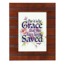 Saved by Grace Woodgrain Beaded Board 5 x 7 Table Top and Wall Photo Frame