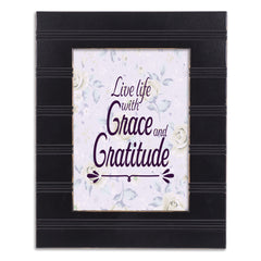 Live With Grace and Gratitude Black Beaded Board 5 x 7 Table Top and Wall Photo Frame