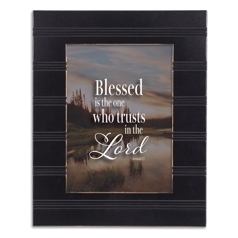 Trust in Him Black Beaded Board 5 x 7 Table Top and Wall Photo Frame