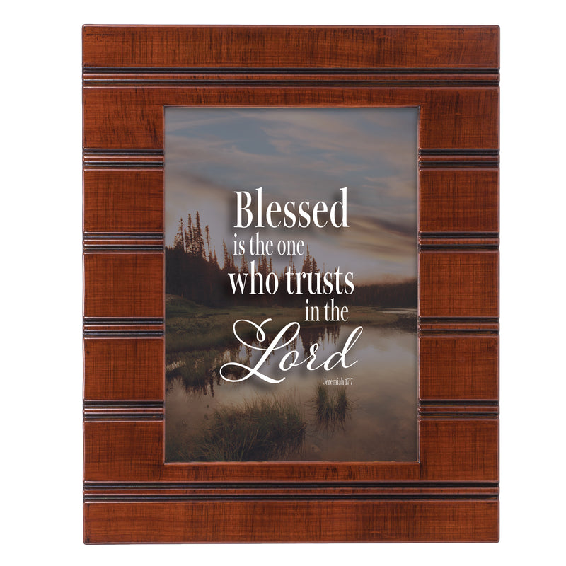 Trust in Him Woodgrain Beaded Board 5 x 7 Table Top and Wall Photo Frame