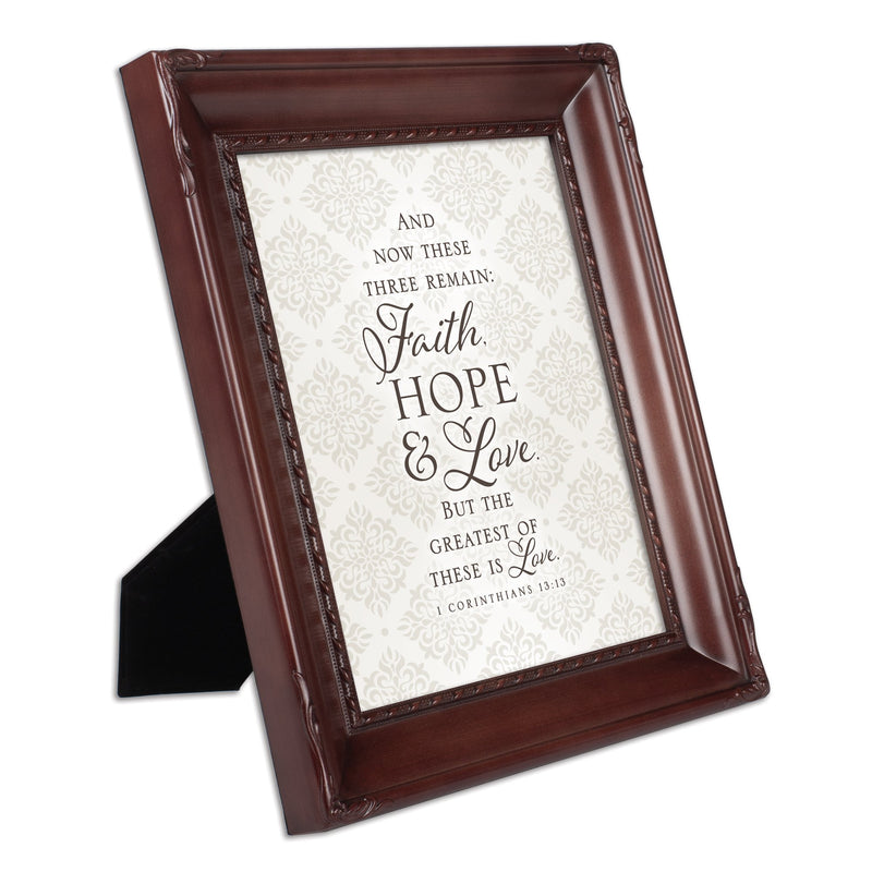 Faith Hope and Love Mahogany Rope Trim 8 x 10 Table Top and Wall Photo Frame