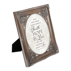Faith Hope and Love Brushed Silver Floral Cutout 8 x 10 Table Top and Wall Photo Frame