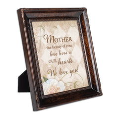 Mother Your Love Burlwood Rope Trim 8 x 10 Table Top and Wall Photo Frame