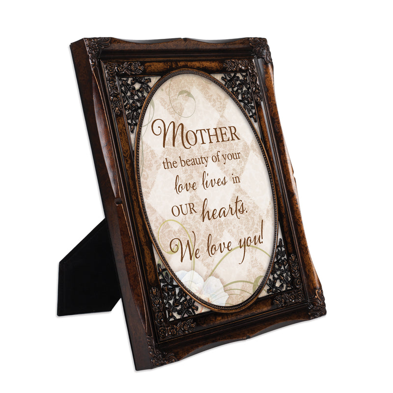 Mother Your Love Burlwood Floral Cutout 8 x 10 Table Top and Wall Photo Frame