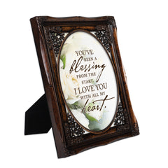 You've Been a Blessing Burlwood Floral Cutout 8 x 10 Table Top and Wall Photo Frame