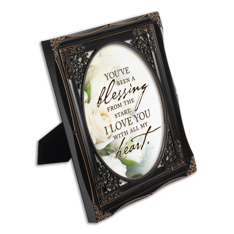You've Been a Blessing Black Floral Cutout 8 x 10 Table Top and Wall Photo Frame