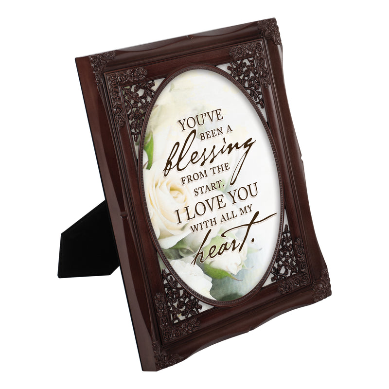 You've Been a Blessing Mahogany Floral Cutout 8 x 10 Table Top and Wall Photo Frame