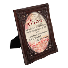 Sister You Are Loved Mahogany Floral Cutout 8 x 10 Table Top and Wall Photo Frame