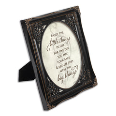 Enjoy the Little Things Black Floral Cutout 8 x 10 Table Top and Wall Photo Frame