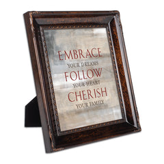 Embrace Follow Cherish Family Burlwood Rope Trim 8 x 10 Table Top and Wall Photo Frame