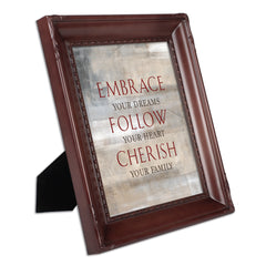Embrace Follow Cherish Family Mahogany Rope Trim 8 x 10 Table Top and Wall Photo Frame