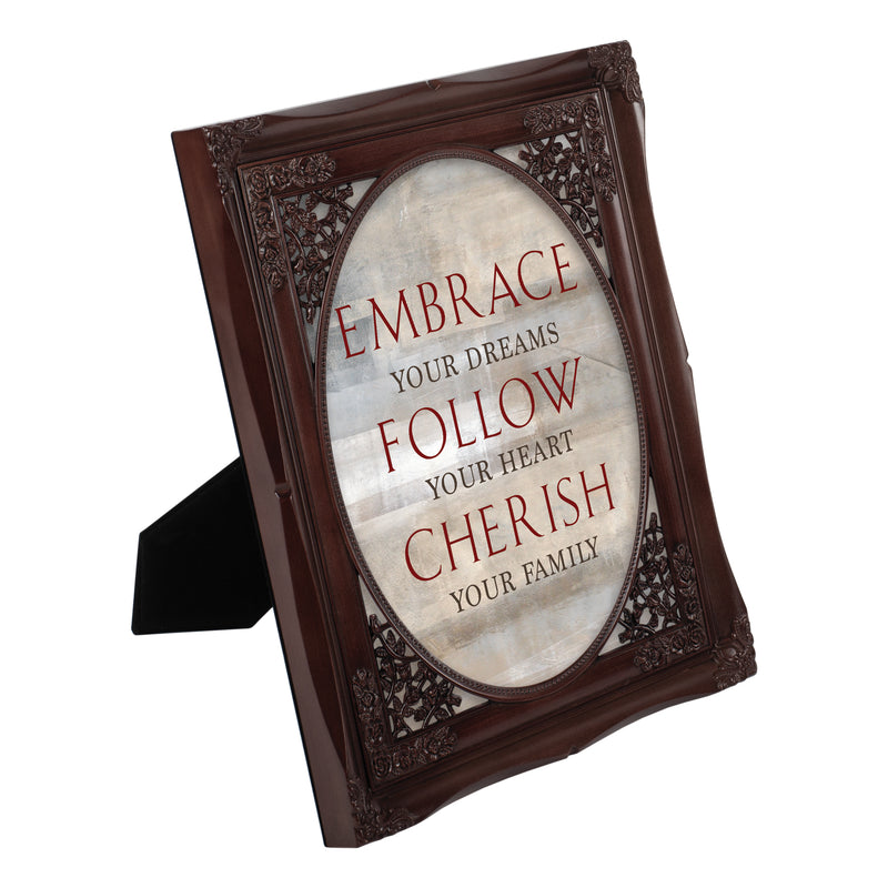 Embrace Follow Cherish Family Mahogany Floral Cutout 8 x 10 Table Top and Wall Photo Frame