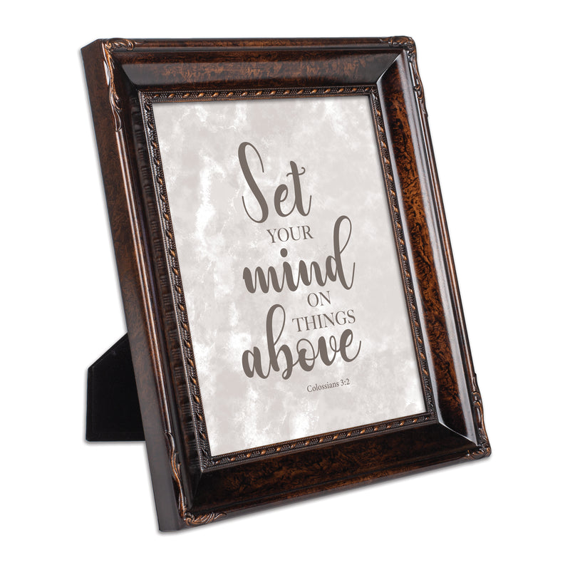 Set Your Mind on Things Above Burlwood Rope Trim 8 x 10 Table Top and Wall Photo Frame