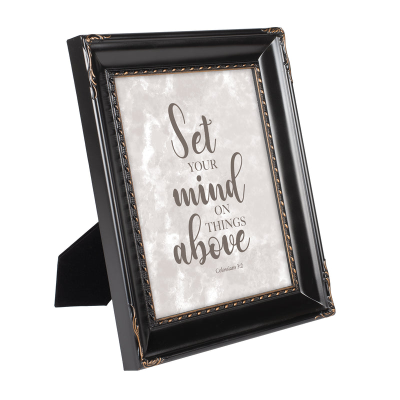 Set Your Mind on Things Above Black Rope Trim 8 x 10 Table Top and Wall Photo Frame