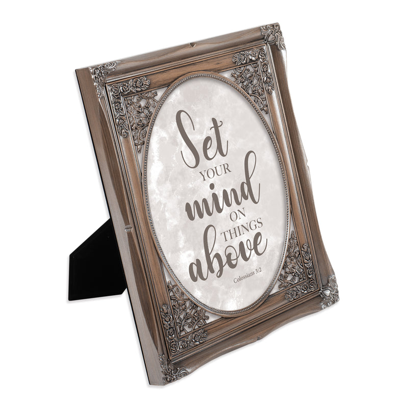 Set Your Mind on Things Above Brushed Silver Floral Cutout 8 x 10 Table Top and Wall Photo Frame