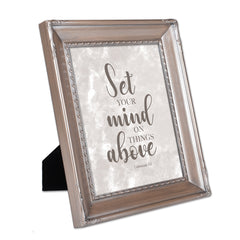 Set Your Mind on Things Above Brushed Silver Rope Trim 8 x 10 Table Top and Wall Photo Frame