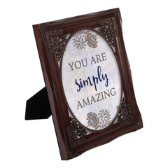 You Are Simply Amazing Mahogany Floral Cutout 8 x 10 Table Top and Wall Photo Frame
