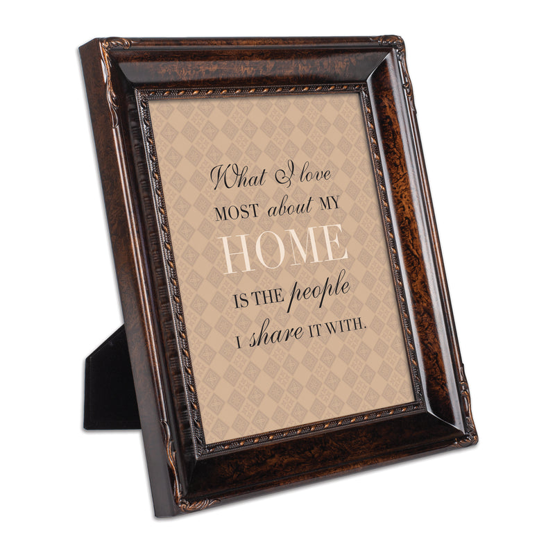 I Love My Home Burlwood Rope Trim 8 x 10 Table Top and Wall Photo Frame