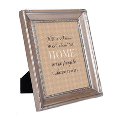 I Love My Home Brushed Silver Rope Trim 8 x 10 Table Top and Wall Photo Frame