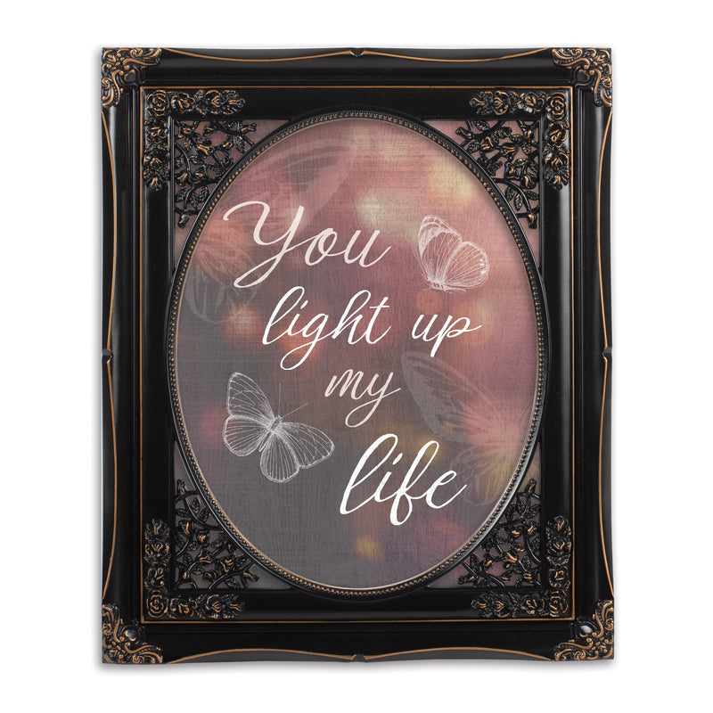 You Light Up My Life Black 8 x 10 Floral Cutout Wall And Tabletop Photo Frame