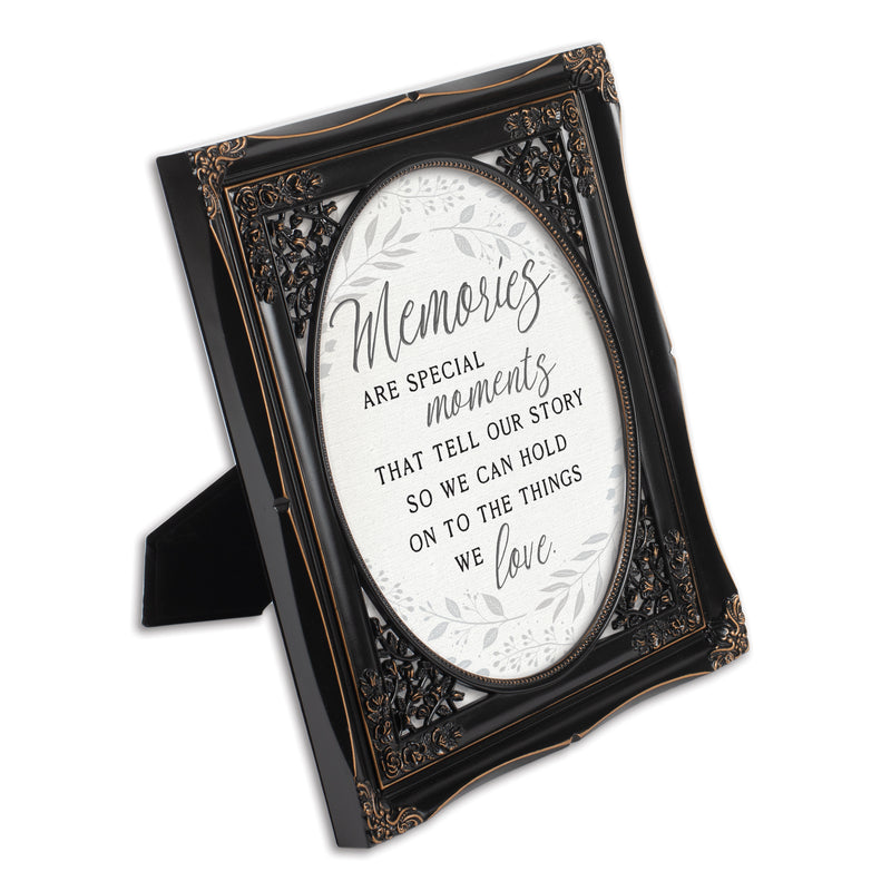 Memories are Special Moments Black Floral Cutout 8 x 10 Table Top and Wall Photo Frame