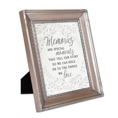 Memories are Special Moments Brushed Silver Rope Trim 8 x 10 Table Top and Wall Photo Frame