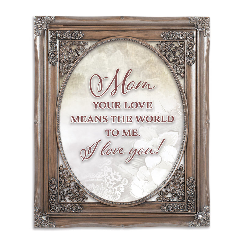 Love Means The World Oval Silver Greybrush 8 x 10  Oval Wall And Tabletop Photo Frame
