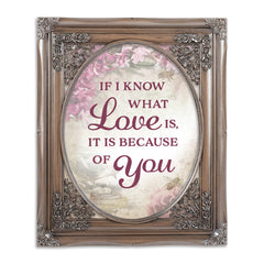 Love Is Because Of You Oval Silver Greybrush 8 x 10  Oval Wall And Tabletop Photo Frame
